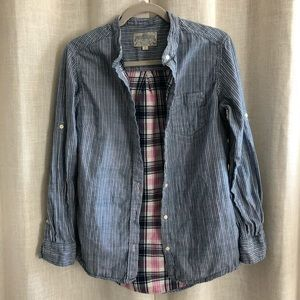 JACHS Girlfriend Chambray Shirt with Plaid Accents